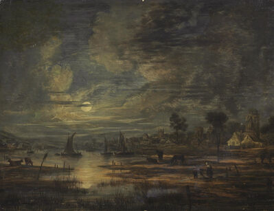 Follower of Aert van der Neer, 'A moonlit river landscape with boats, cows, figures and a town beyond'
