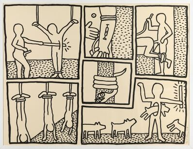 Keith Haring, 'The Blue print Drawings; one plate (Littmann p.177)', 1990