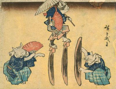 Utagawa Hiroshige (Andō Hiroshige), 'Cat Crossing to Eat', 1830-1844