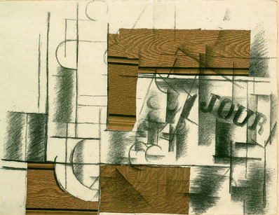 Georges Braque, 'Verre, bouteille et journal (Glass, Bottle, and Journal)', 1912