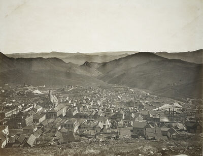 Carleton E. Watkins, 'Virginia City From Water Flume', 1878