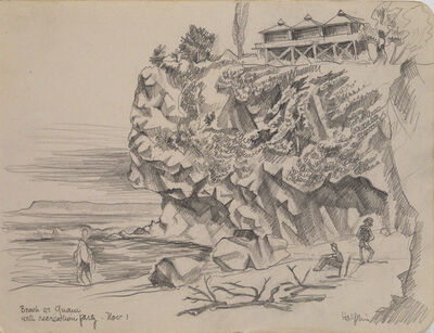Lawrence Halprin, 'Beach at Guam with Recreation Party, Nov 1', 1944