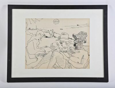 Red Grooms, 'Unique  Ink Drawing (Provincetown) with personal inscription', 1966