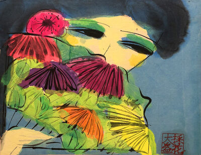 Walasse Ting 丁雄泉, 'Girl with a Floral Fan', 1990s