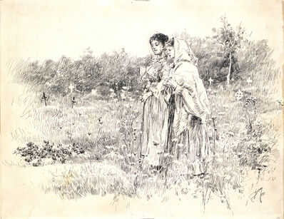 Robert Frederick Blum, 'Two Girls Standing Before a Grave', 1888