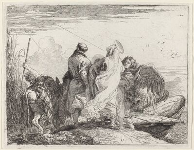 Giovanni Domenico Tiepolo, 'The Holy Family Preparing to Embark', published 1753