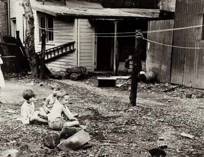 Carl Mydans, 'Children playing in back yard of slum area near Capitol. Area is inhabited by both blacks and whites. Washington, DC', 1935-1942