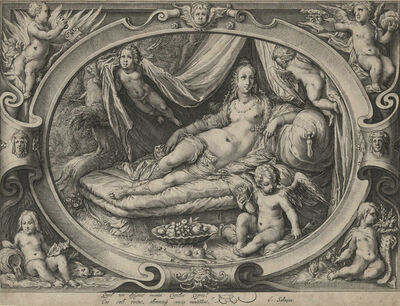 Jan Pietersz Saenredam, 'Venus on Her Couch as Eros Fills His Quiver with Arrows [After Goltzius]', ca. 1600