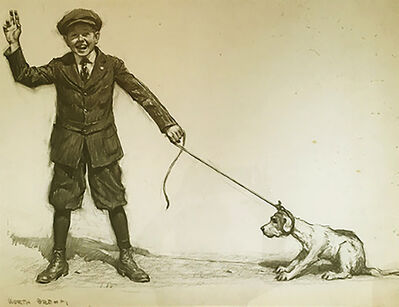 Worth Brehm, 'Sam pulling his new dog, Walter John', 20th Century