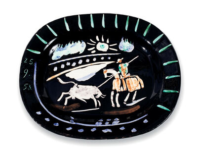Pablo Picasso, 'Madoura, Corrida soleil , Glazed ceramic plate, Ramie 199', 1950-1959