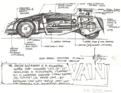 Syd Mead, 'Concept Sketch for High Speed Police Pursuit Vehicle with Notations', 2005