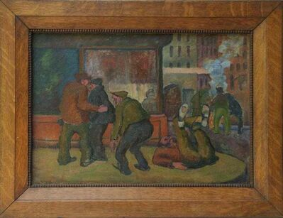 William Freed, 'BOWERY Oil Painting WPA American Scene Modernist Historical Art Provincetown NYC', ca. 1930s