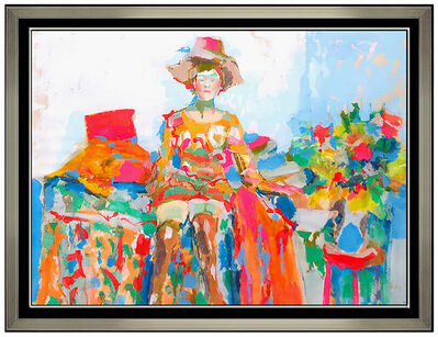 Nicola Simbari, 'Nicola Simbari Large Original Oil Painting Female Portrait Signed Beach Artwork', 1969