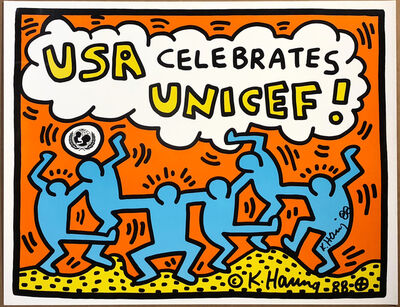 Keith Haring, 'USA Celebrates Unicef Announcement', 1988