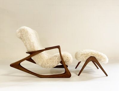 Vladimir Kagan, 'Sculpted Rocking Chair and Ottoman in California Sheepskin', ca. 1963