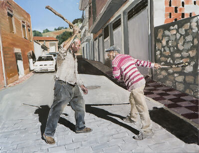 Santiago Ydañez, 'La riña a garrotazos', 2020