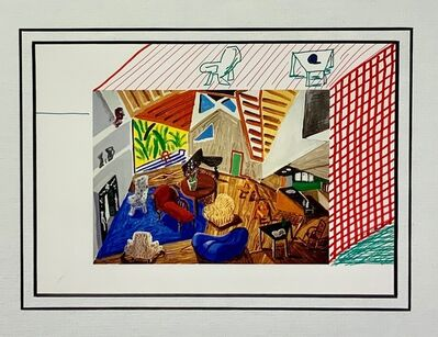 David Hockney, 'Pembroke Studio Interior with hand added Table, Chair and Cross-Hatching.', 1988
