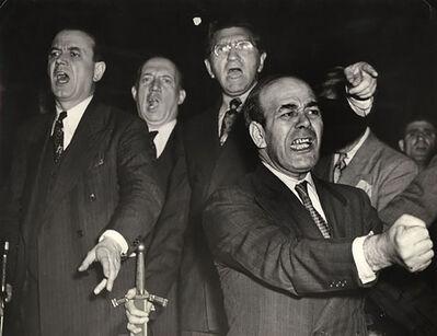 "Weegee, 'Metropolitan Opera's male chorus rehearsing their parts for Wagner's ""Lohengrin,"" New York', November 26-1944"