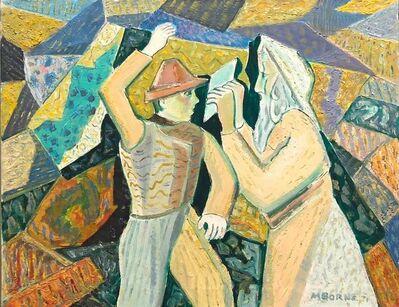 Mortimer Borne, 'Judaica Modernist Oil Painting 'Know Thyself' Israeli Kibbutz Pioneer, Prophet', 1970-1979