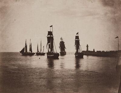 Gustave Le Gray, 'Bateaux quittant le port du Havre (Ships leaving the port at Le Havre)', 1856-1857