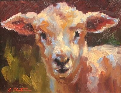 "Cheri Christensen, '""Lamb Chop"" Painterly Depiction of a Lamb's Face in Bright Neutrals and Green', 2018"