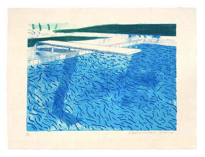 David Hockney, 'Lithograph of Water Made of Thick and Thin Lines and a Light Blue and a Dark Blue Wash', 1978-1980