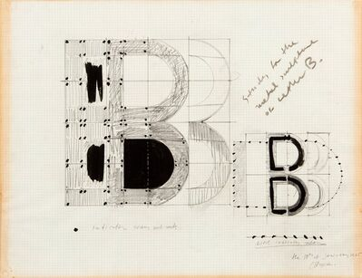 Chryssa, 'Analytical Search of Letter B and Study for the Metal Sculpture of the Letter B (two works)', 1965