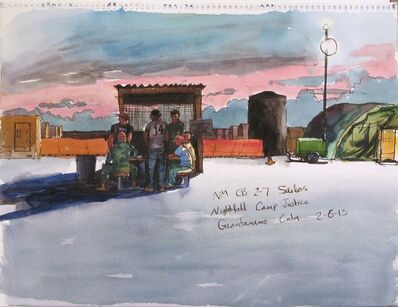Steve Mumford, '2/6/13, NM CB 2-7 Sailors, Nightfall Camp Justice. Guantanamo Bay, Cuba', 2013