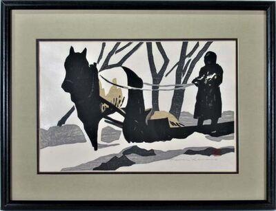 """Kaoru Kawano, ' """" Horse pulling a Sledge""""', ca. 1950"""