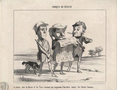 Honoré Daumier, 'La guerre entre les Russes et les Turcs...HD. Croquis de Chasse. Maison Martinet r. Vivienne 41 et 11 r. du Coq. Imp. Trinoq Cour des Miracles, 9 Paris', 1853