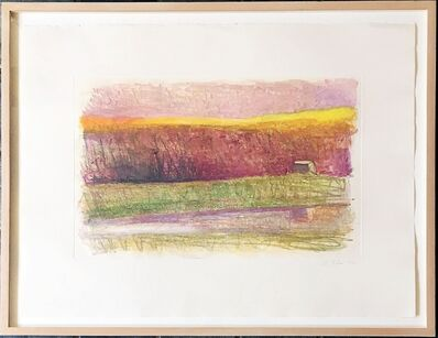 Wolf Kahn, 'Rosy Landscape in Distant Barn', 1990