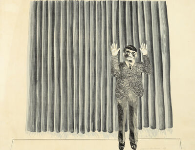 David Hockney, 'Figure by curtain', 1964