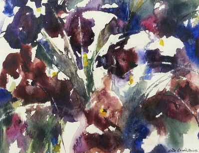 Lila Lewis Irving, 'Purple flowers, Pansies', 1980s
