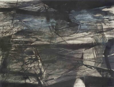 Arindam Chatterjee, 'The crazed moon, Oil, acrylic, charcoal and pastel in blue, black & white by Contemporary Artist Arindam Chatterjee', 2009
