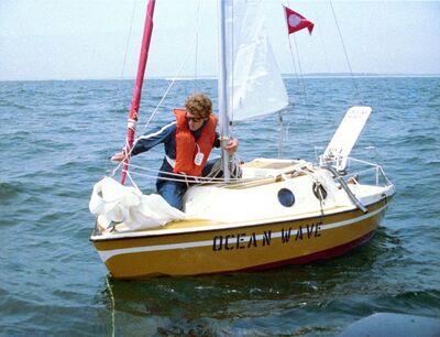 "Bas Jan Ader, 'Bas Jan Ader aboard ""Ocean Wave"" about to set sail July 9, 1975', 1975"