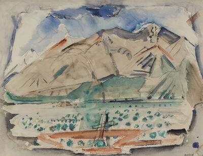 John Marin, 'Taos Mountain, Pueblo and Mesa', 1929