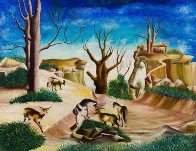 Andrew Saturne, 'Six Goats, Parched Earth'
