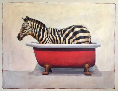 "Santiago Garcia, '""Andante #678"" oil painting of a black and white zebra in a red clawfoot bathtub', 2019"