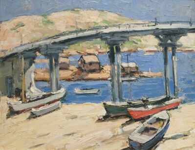 Walter Farndon, 'The Bridge: Rowboats on the Beach', 19th -20th Century