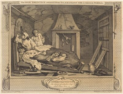 William Hogarth, 'The Idle 'Prentice return'd from Sea & in a Garret with a common Prostitute', 1747