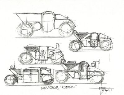 Syd Mead, 'Concept Sketch for Aliens Game, Mars Last Resort Vehicles Alternative', 2007