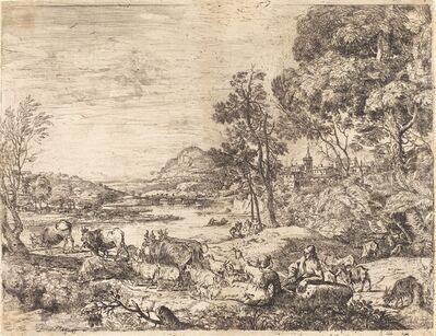 Claude Lorrain, 'Shepherd and Shepherdess Conversing in a Landscape (Berger et bergère conversant)', ca. 1651