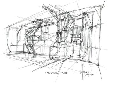 Syd Mead, 'Concept Sketch for Aliens Game, Personnel Port with Pressure Doors', 2007