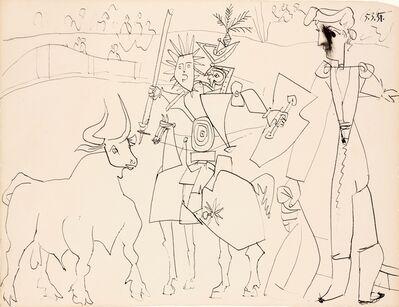 Pablo Picasso, 'Chevalier et Picador Dans L'arène', 1951
