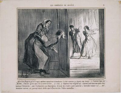 Honoré Daumier, 'Les Comédiens de Société: Dites-donc Baptiste, qu'est ce qu'y ont donc…', 1858