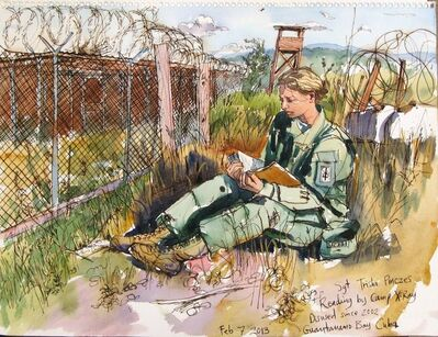 Steve Mumford, '2/7/13 Sgt Trisha Pinczes Reading by Camp X-Ray Disused since 2002, Guantanamo Bay, Cuba', 2013