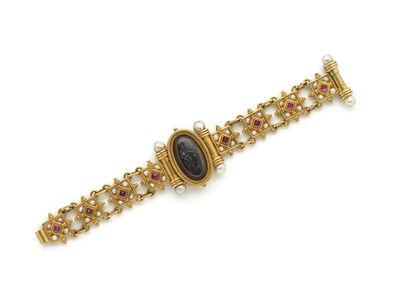 Fortunato Pio Castellani & Sons, 'Gold bracelet with rubies, pearls and hard-stone intaglio', ca. 1875