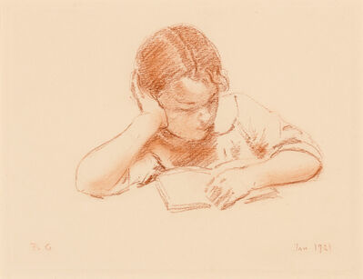 Bernhard Gutmann, 'Elizabeth Reading', 1921