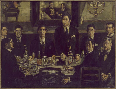 José Gutiérrez Solana, 'La tertulia del Café de Pombo (The Gathering at the Café de Pombo)', 1920