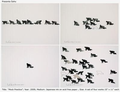 Prasanta Sahu, 'Mock Practice, Figurative, Japanese Ink, Black & White by Contemporary Artist Prasanta Sahu', 2009
